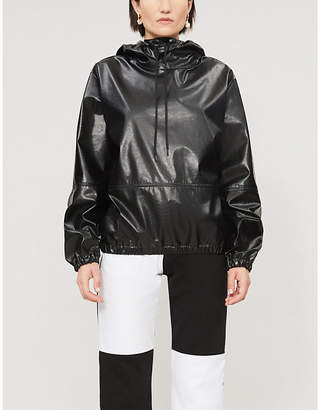 MSGM Loose-fit faux-leather hoody