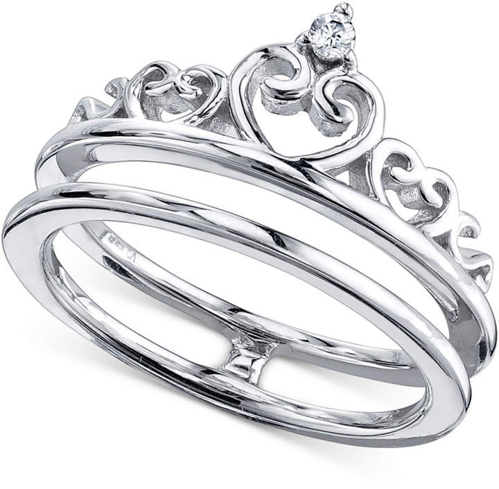 Unwritten Cubic Zirconia Split Shank Crown Ring in Sterling Silver