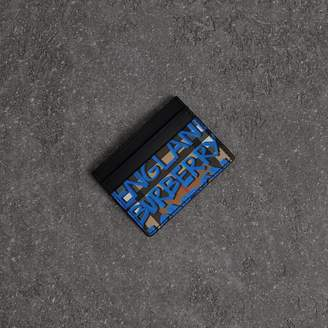 Burberry Graffiti Print Vintage Check Leather Card Case, Blue