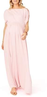Ingrid & Isabel R) Smocked Empire Waist Maternity Maxi Dress