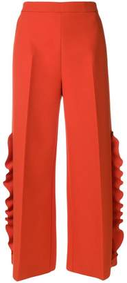 MSGM wide-leg ruffle trousers