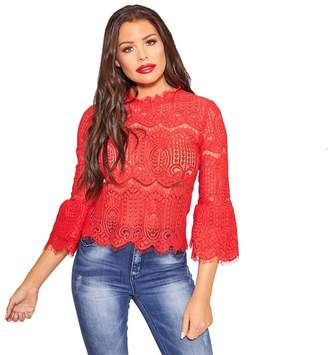 Jessica Wright Sistaglam Love Jessica - Red 'Anya' Corded Lace Top With Frill Sleeves