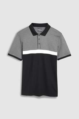 Next Mens Grey Premium Colourblock Polo