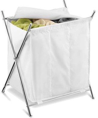 Honey-Can-Do Folding Hamper with 3 Sorters and Steel X-Frame, White/Chrome