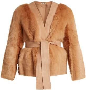 Diane von Furstenberg Suede-trimmed V-neck shearling jacket