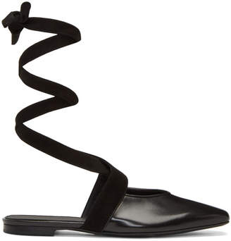 J.W.Anderson Black Lace-Up Ballerina Flats