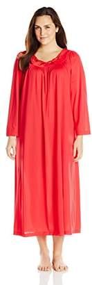 Shadowline Women's Plus-Size Petals 53 Inch Long Sleeve Long Gown