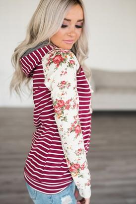 40b57e6b3770 Ampersand Avenue Baseball DoubleHood Sweatshirt - Maroon Floral