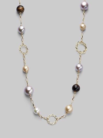 Majorica 10MM-14MM Multicolor Pearl & Tiger's Eye Necklace