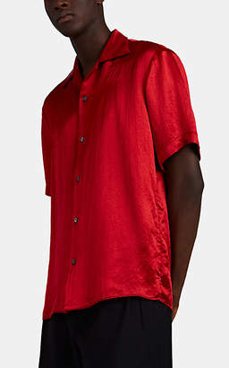 86ea88bb1f80 Gucci Men's Embroidered-Skull Washed Satin Shirt - Red