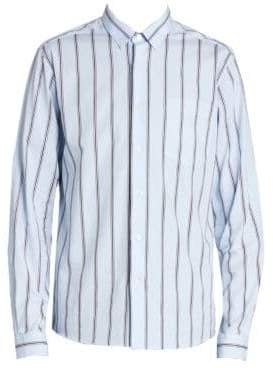Ami Men's Long Sleeve Striped Shirt - Sky Blue White - Size 42