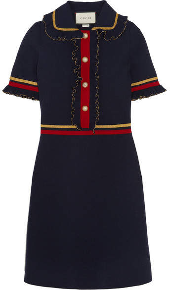 Gucci Gucci - Faux Pearl-embellished Ruffled Wool-blend Mini Dress - Navy