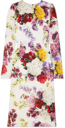 Dolce & Gabbana Floral-print Silk-blend Satin Midi Dress - White