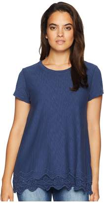 Mod-o-doc Heavier Slub Jersey Short Sleeve Boxy Tee with Embroidered Hem Women's T Shirt
