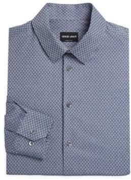 Giorgio Armani Diamond Pattern Cotton Dress Shirt