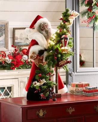 Ditz Designs By The Hen House Heritage Santa Holding Bag of Gifts & Tree