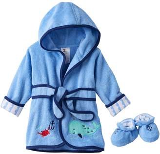 Just Born Baby Boy Robe & Booties Set