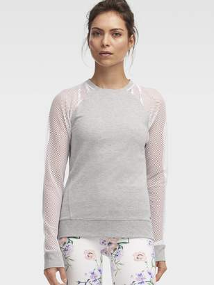 DKNY Crew Neck Pullover With Mesh Sleeves