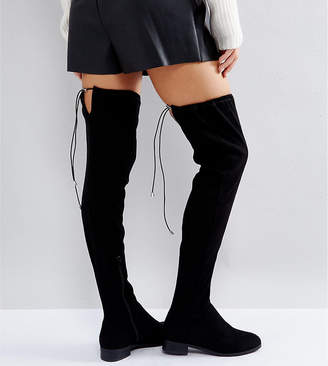 Asos DESIGN KEEP UP Wide Fit Flat Over The Knee Boots