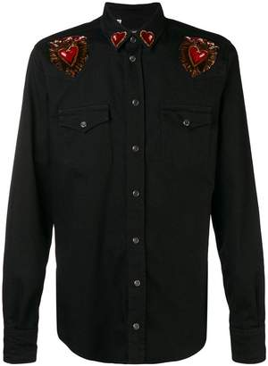 Dolce & Gabbana heart patches denim shirt