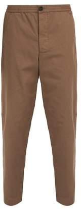Oliver Spencer Eden Cotton Herringbone Trousers - Mens - Brown