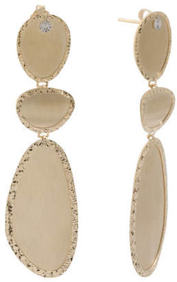 Made In Italy Two Tone 14k Gold Satin Finish Drop Earrings