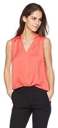 Essentialist Women's Blouse Silky Shine Sleeveless V-Neck Shell (