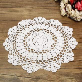 Meigar 12 inch Round Handmade Cotton Crochet Doilies,Ecru Round Crocheted Lace Cloth Fabric Doilies Placemats Table Mat Doily
