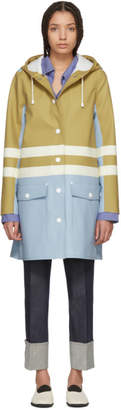 Marni Blue and Beige Hooded Double Stripe Coat