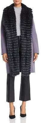 Maximilian Furs Fox Fur Tuxedo Trim Wool Coat - 100% Exclusive