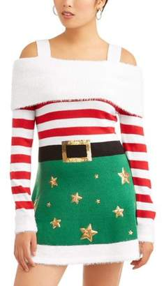 Holiday Time Women's Ugly Christmas Sweater Dress