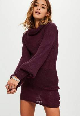 Missguided Burgundy Balloon Sleeve Turtle Neck Sweater Dress
