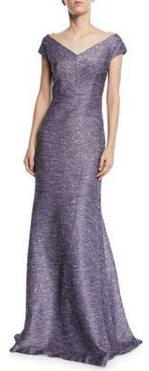 Lela Rose Open V-Neck Tweed Gown