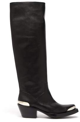 Vetements Knee High Leather Cowboy Boots - Womens - Black