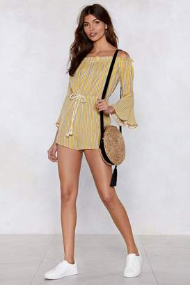 Nasty Gal Go Stripe Ahead Off-the-Shoulder Romper