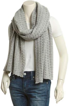 Portolano Light Heather Grey Crochet Pointelle Cashmere Wrap