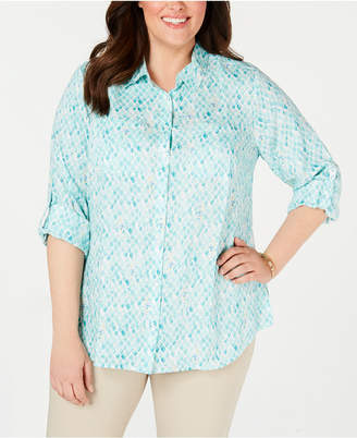 Charter Club Plus Size Printed Button-Front Roll-Tab-Sleeve Linen Top