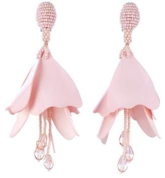 Oscar de la Renta Large Impatiens Flower Drop Swarovski Crystal Embellished Clip-On Earrings