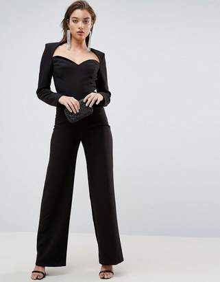 Asos Jumpsuit With Sweetheart Neckline And Wide Leg