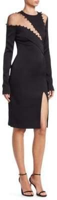 Pamella Roland Asymmetric Illusion Bodycon Dress