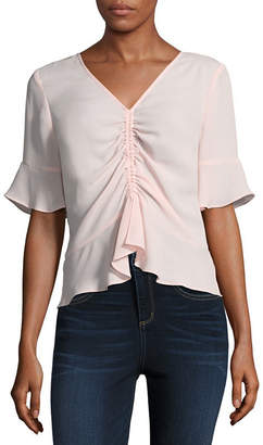 BELLE + SKY V-Neck Ruched Front Top