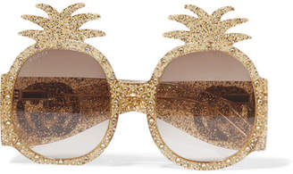 Gucci Round-frame Crystal-embellished Glittered Acetate Sunglasses - Gold