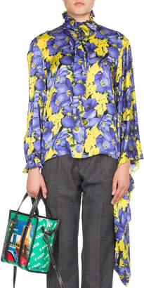 Balenciaga Poppy-Print Kimono Sleeve Blouse
