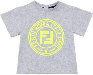 Fendi Logo Print Cotton Jersey T-shirt
