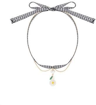 Miu Miu Multicolour Gingham Daisy Charm Crystal Necklace