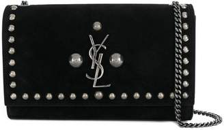 Saint Laurent studded logo shoulder bag