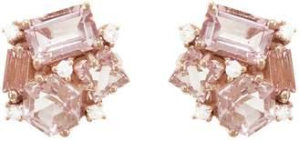 Suzanne Kalan KALAN By Emerald Cut Morganite Topaz and Diamond Hexagon Stud Earrings - White Gold