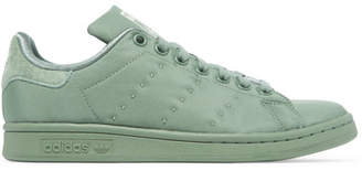 adidas Stan Smith Suede-trimmed Satin-twill Sneakers