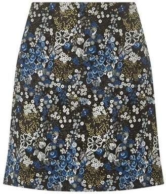 Dorothy Perkins Womens Black and Blue Jaquard Mini Skirt