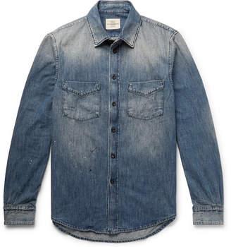 Kent & Curwen Knole Paint-Splattered Denim Shirt